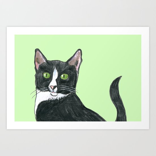 Black and White Cat  Art Print