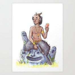 Faun pin up : July's icecream Art Print