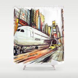 Flight in Times Square Shower Curtain
