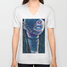 Tribal Blue Face Unisex V-Neck