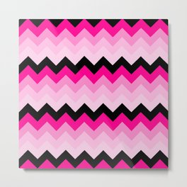 Pink and Black Chevrons Pattern Metal Print