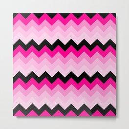 Pink and Black Chevrons Pattern Metal Print