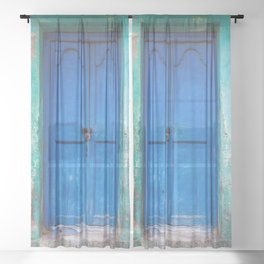 Blue Indian Door Sheer Curtain
