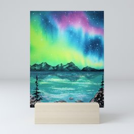 """Northern Lights"" watercolor landscape painting Mini Art Print"