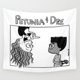 Petunia & Dre greyscale with title Wall Tapestry