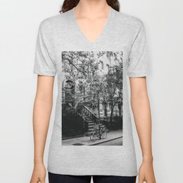 New York City - West Village Street and Bicycles Unisex V-Neck