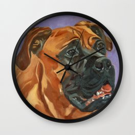 Finnly the Bull Mastiff Dog Portrait Wall Clock