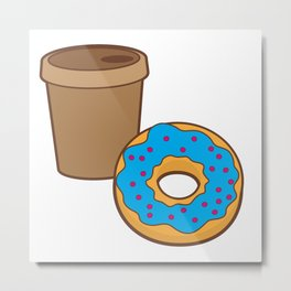 a coffee and a donut Metal Print