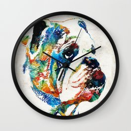 Bulldog Pop Art - How Bout A Kiss - By Sharon Cummings Wall Clock