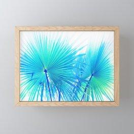 Solar Summer Fan Palms - Blue and Aqua Framed Mini Art Print