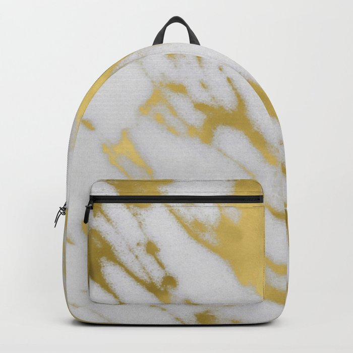Gold White Marble Backpack