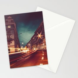 Prague Streets at Night Stationery Cards