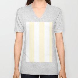 Wide Vertical Stripes - White and Cornsilk Yellow Unisex V-Neck