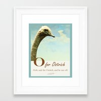 ostrich Framed Art Prints featuring  Ostrich by BlueMoonArt