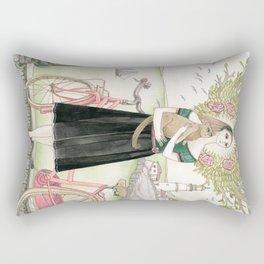 Girl and cat with pink bicycle Rectangular Pillow