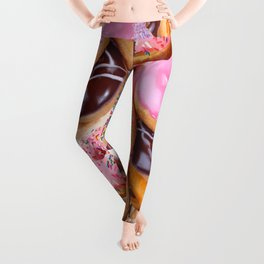 MODERN ART PINK & CHOCOLATE DONUT PASTRY MONTAGE Leggings