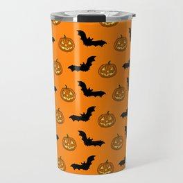 Halloween pumpkins and black bats. Travel Mug