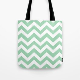 Turquoise green - green color - Zigzag Chevron Pattern Tote Bag