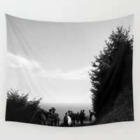 hiking Wall Tapestries featuring Hiking the California Coast by Brooke Copani