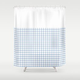 Dotted Grid Boarder Blue on White Shower Curtain