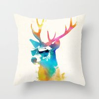 stag Throw Pillows featuring Sunny Stag by Robert Farkas