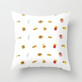 wallpaper of fast food icons Throw Pillow