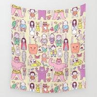 folk Wall Tapestries featuring Mukashi-Banashi / Japanese Folk Tales by Kimiaki Yaegashi