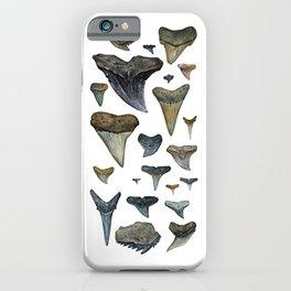 Fossil shark teeth watercolor iPhone Case