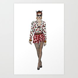 Moschino fashion illustration roses  Art Print