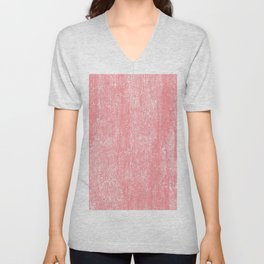 Coral white modern watercolor paint brushstrokes Unisex V-Neck