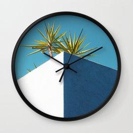 Cactus blue white Wall Clock