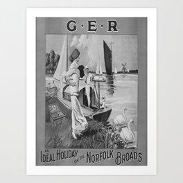 retro b/w Norfolk Broads travel poster Art Print