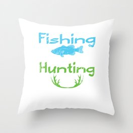 Fishing Hunting Solves Problems Fish Antler Throw Pillow