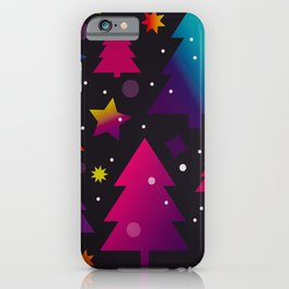 colorful christmas trees iPhone Case
