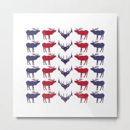 Graphic US Silhouette Elk 16 Metal Print