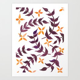 Watercolor floral pattern - burgundy and yellow Art Print