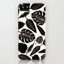 Monstera pattern in black and pastel iPhone Case