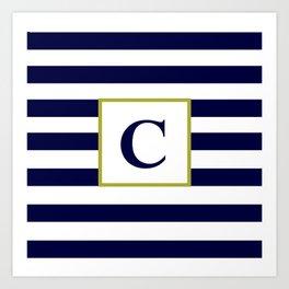 Monogram Letter C in Navy Blue and White Art Print