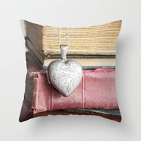 college Throw Pillows featuring College Romance by Colleen Farrell