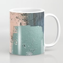 13th and Grant: an abstract mixed media piece in peach green blue and white Coffee Mug