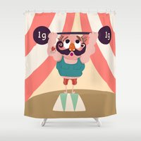 muscle Shower Curtains featuring Monsieur Muscle  by Geekygirl