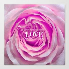 Rose pink, LOVE Canvas Print