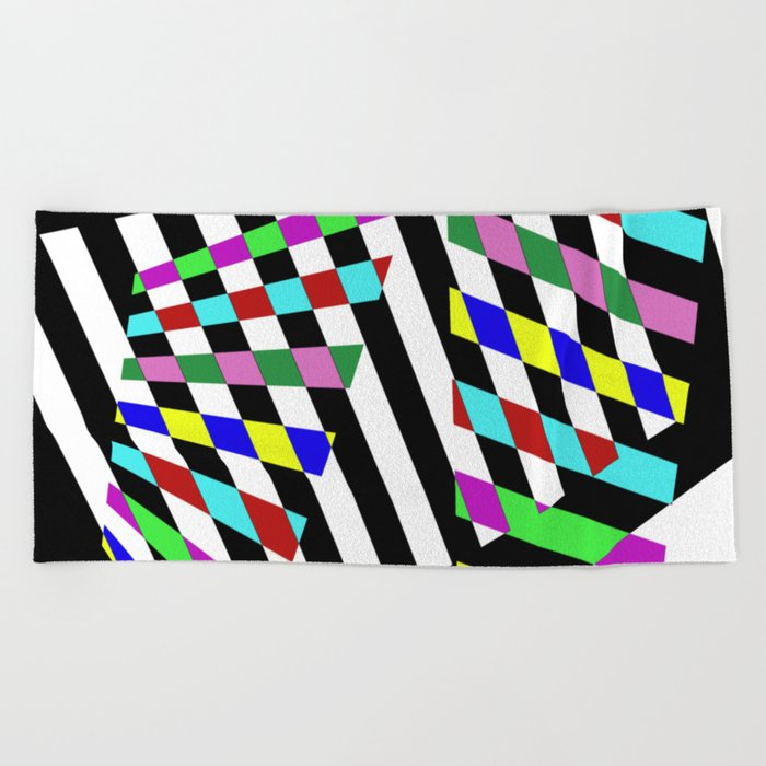 Lost Dimension - Abstract 3D style, multicoloured, geometric artwork Beach Towel