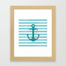 AFE Nautical Teal Ship Anchor Framed Art Print
