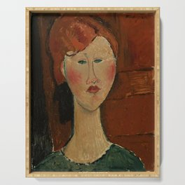 """Amedeo Modigliani """"Femme aux cheveux rouge (Woman with Red Hair)"""" Serving Tray"""