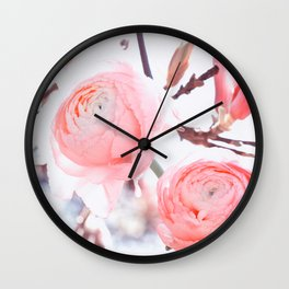 noble floral pattern of magnolia and ranunculus flowers Wall Clock