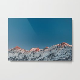 Chamonix Red Mountain Peaks Metal Print