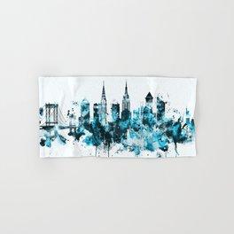 New York Monochrome Blue Skyline Hand & Bath Towel