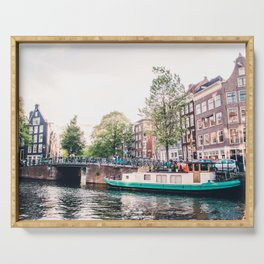 Amsterdam House Boats on Canal | Europe City Travel Urban Landscape Photography Serving Tray