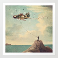 City Kite Afternoon Art Print